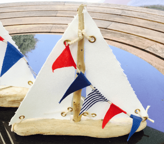 Driftwood Sailboat with flag bunting