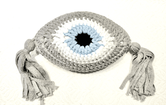 Crochet Eye Cushion Light Grey Small