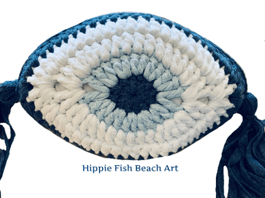 Crochet Eye Cushion Denim Blue Small
