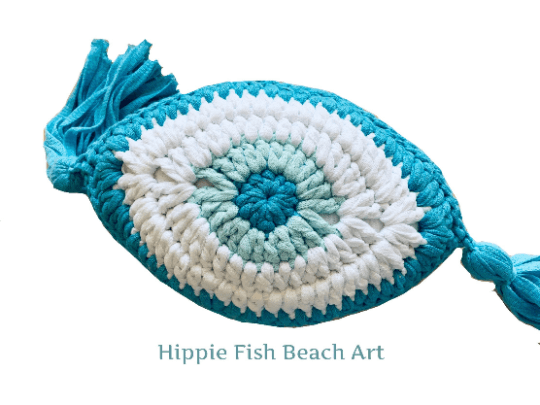Crochet Eye Cushion Turquoise Small