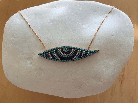 Eye Shaped Pendant Necklace