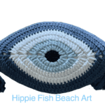Crochet Eye Cushion Denim Blue Large