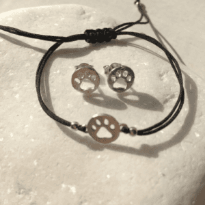 Silver Paw Bracelet & Earrings Gift Set