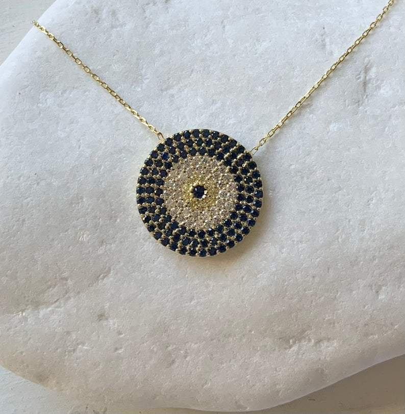 Large Gold Eye Pendant Necklace