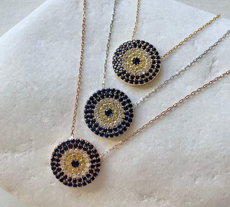Gold Eye Pendant Necklace Medium Large Charm