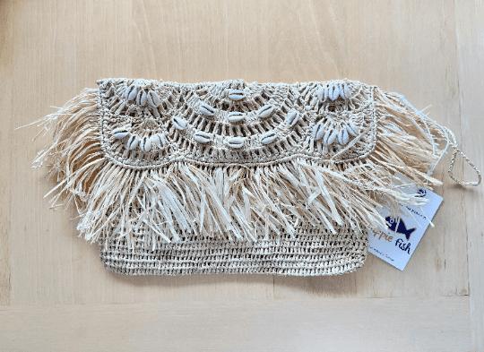 Raffia Clutch Bag With Fringe & Cowrie Shells