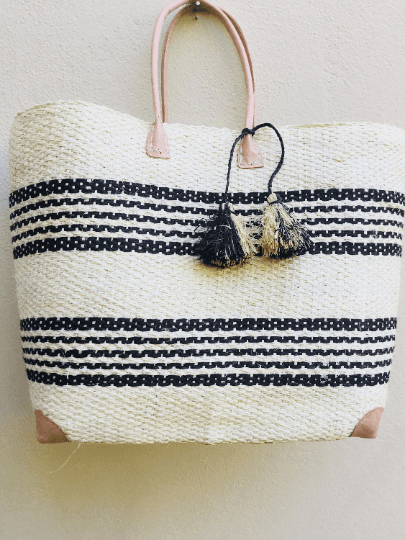 Nautical Striped Beach Tote Bag