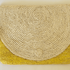 Raffia Clutch Bag Yellow