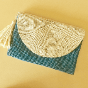 Raffia Clutch Bag Blue