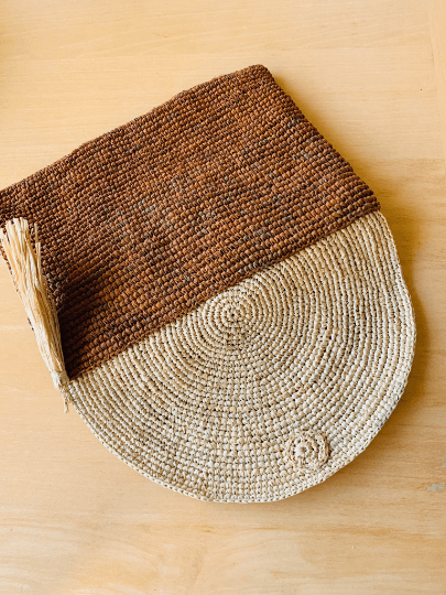 Raffia Clutch Bag Brown