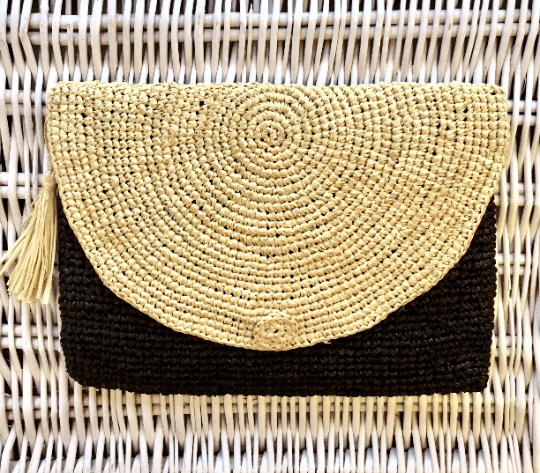 Raffia Clutch Bag Black