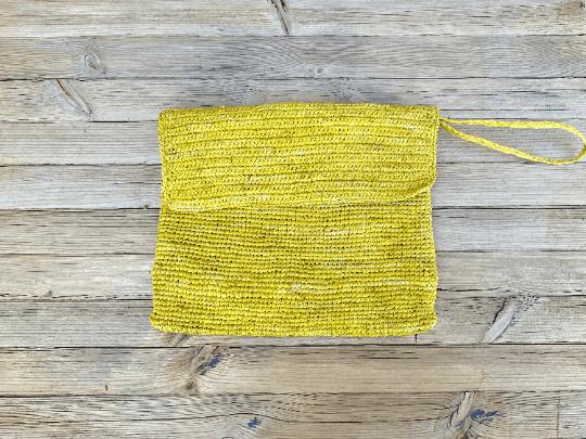 Yellow Raffia Clutch Bag
