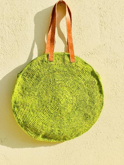 Lime Green Round Straw Shoulder Bag