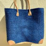 Blue Straw Tote Bag