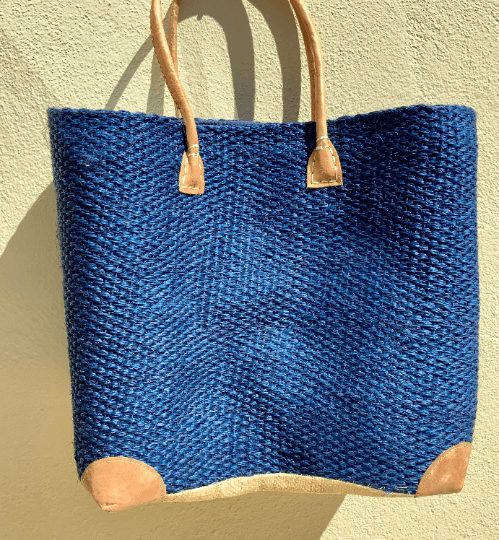 Blue Straw Tote Bag