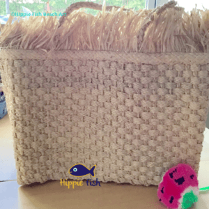 Raw Edge Raffia Straw Tote Bag