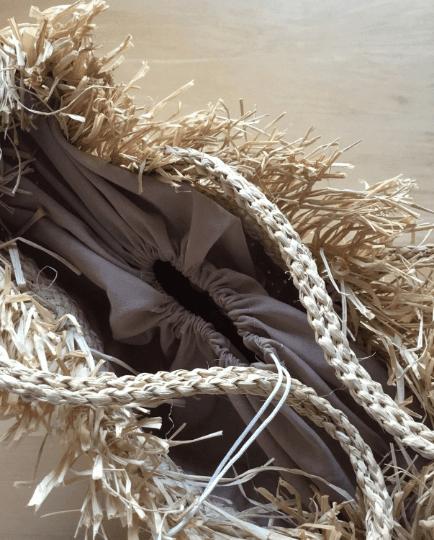Raw Edge Raffia Straw Tote Bag