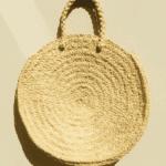 Large Round Straw Tote Bag