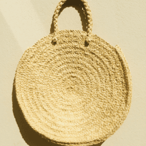 Large Round Straw Tote Bag