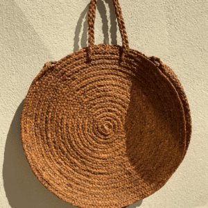 Large Round Straw Tote Bag Brown
