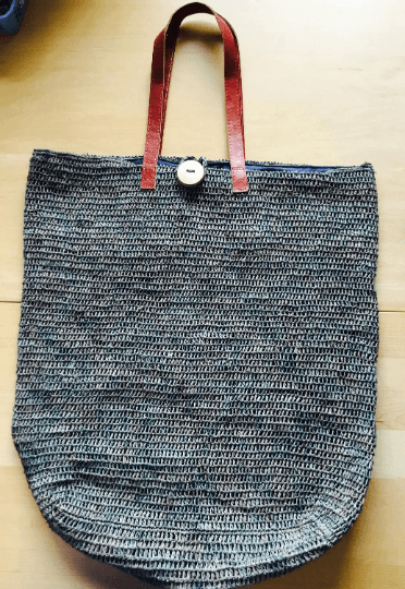 Large Straw Tote Grey