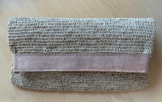 Raffia Zip & Fold Clutch Bag