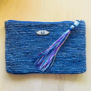 Raffia Zip & Fold Clutch Bag