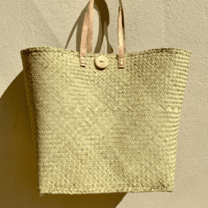 Large Woven Palm Straw Tote Bag