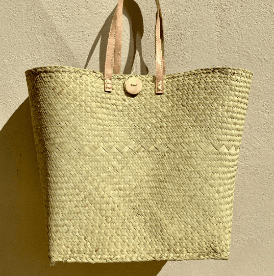 Large Raffia Palm Tote Bag