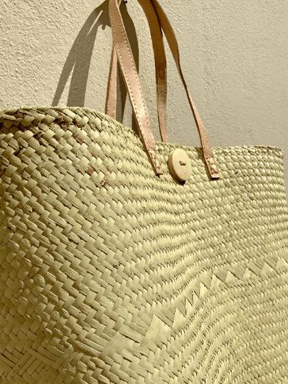 Large Raffia Palm Tote Bag