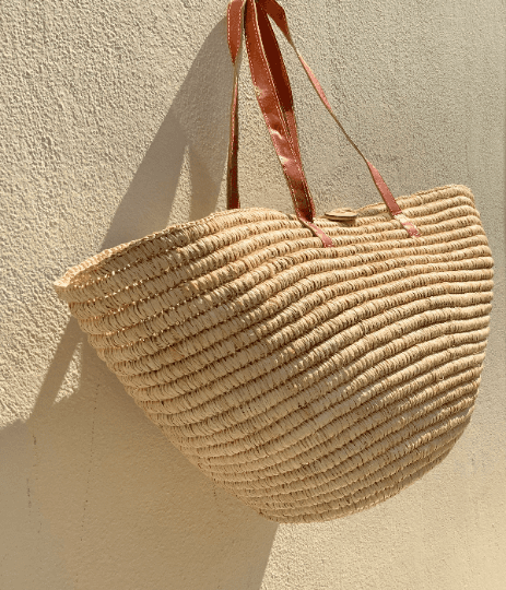 Large Straw Beach Tote & Long Leather Straps