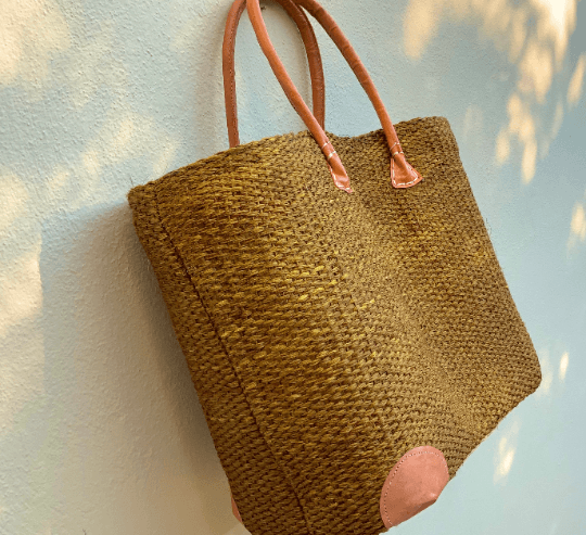 Bronze Straw Tote Bag
