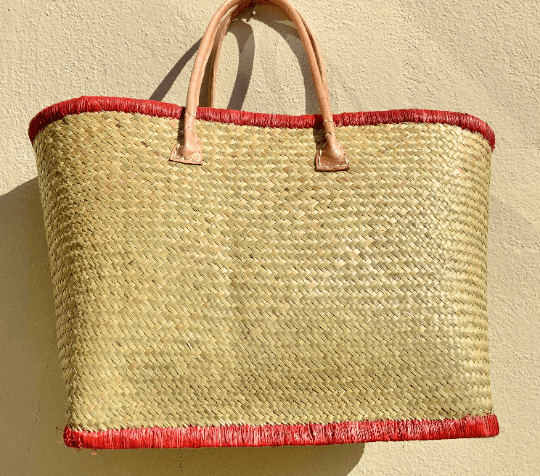 Woven Palm Beach Tote Bag & Leather Handles