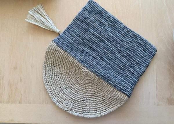 Raffia Clutch Bag Grey