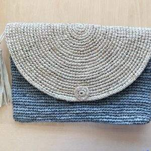 Raffia Clutch Bag Grey