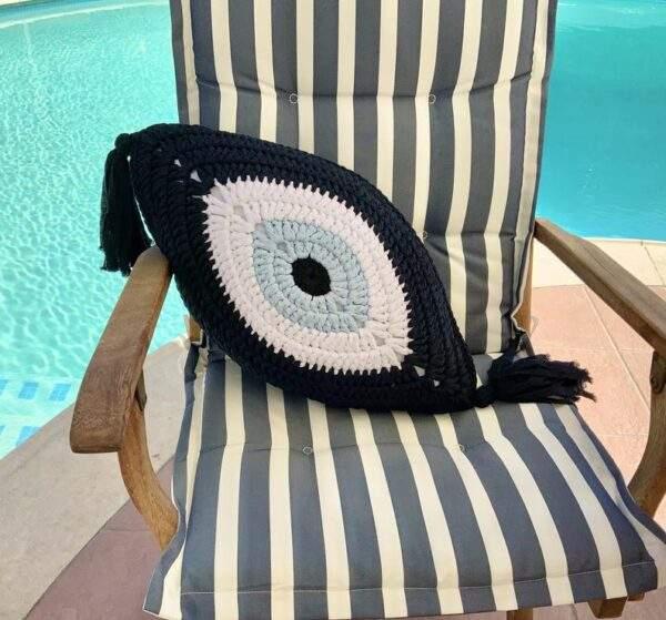 Crochet Eye Cushion Navy Blue