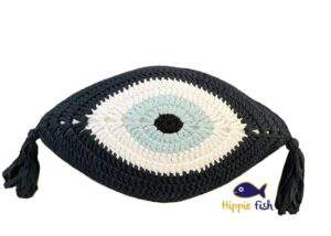 Crochet Eye Cushion Navy Blue