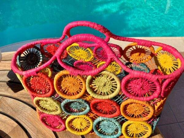 Straw Macrame Basket Multi