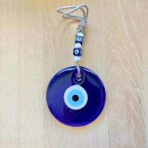 Large Blue Glass Evil Eye Charm with Beads