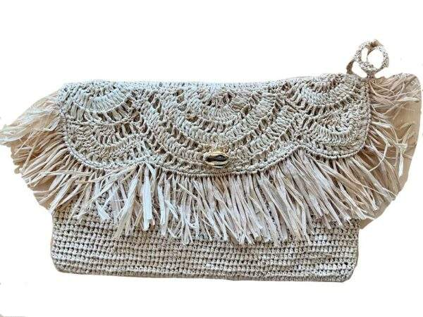 Crochet Straw Clutch Bag with Gold Cowrie Shell