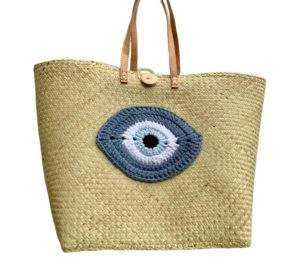 Large Woven Palm Straw Tote Bag with Crochet Eye