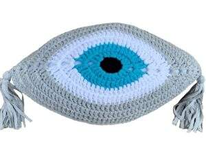 Crochet Eye Cushion Light Grey Turquoise