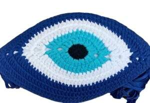 Crochet Eye Cushion Blue and Turquoise