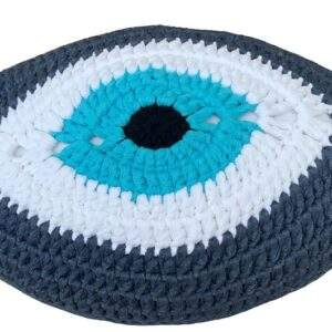 Crochet Eye Cushion Denim Blue Turquoise