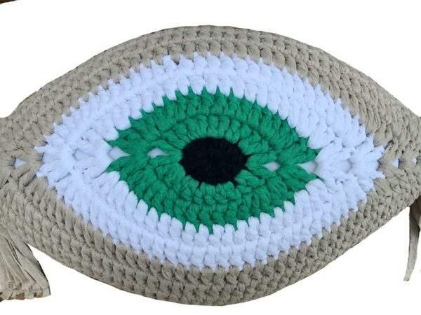 Crochet Eye Cushion Light Beige and Green