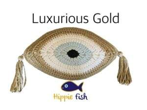 Greek Evil Eye Cushion Gold and Light Blue