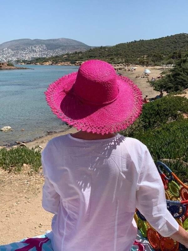 Pink Raffia Sun Hat with Woven Edge