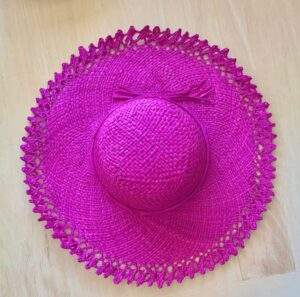 Pink Raffia Sun Hat with Woven Edge