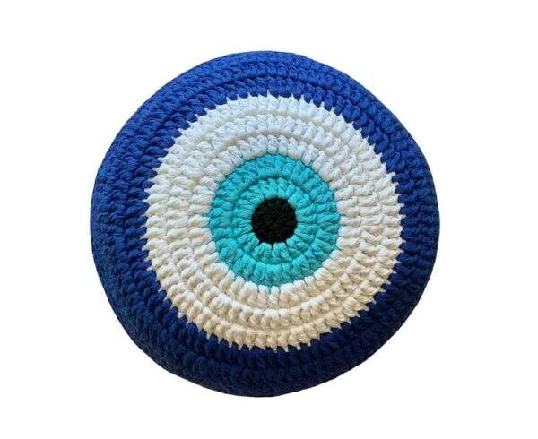 Round Evil Eye Cushion Greek Blue