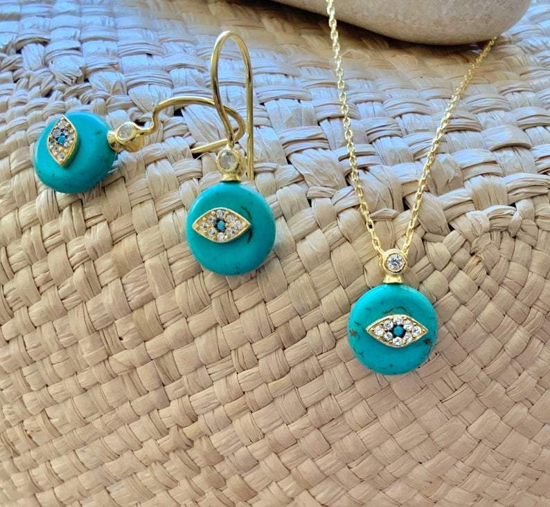 Turquoise Evil Eye Drop Earrings and Necklace